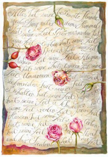 """Christina Thrän, Briefkarte """"Alles hat seine Zeit"""""""