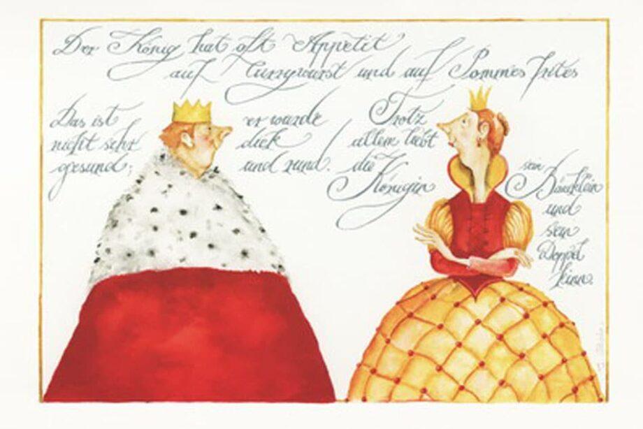 """Christina Thrän: Briefkarte """"Der König"""""""