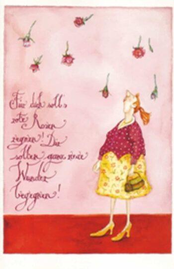 """Christina Thrän: Briefkarte """"Rote Rosen"""""""