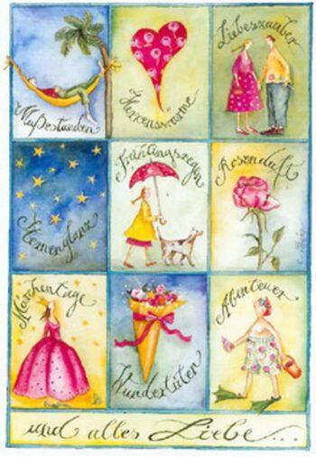 """Christina Thrän: briefkarte """"Und alles Liebe"""""""