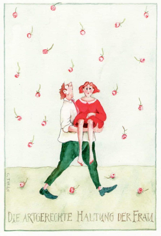 """Christina Thrän, Briefkarte """"Die artgerechte Haltung"""""""