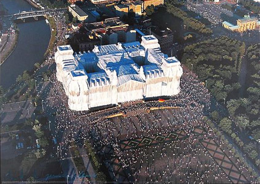 Christo | Reichstag, Luftaufnahme der Westfassade (handsigniert)
