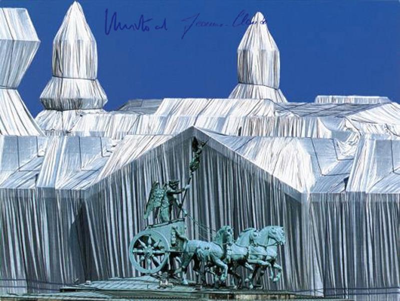 Christo Reichstag, Reichstag mit Quadriga (handsigniert)
