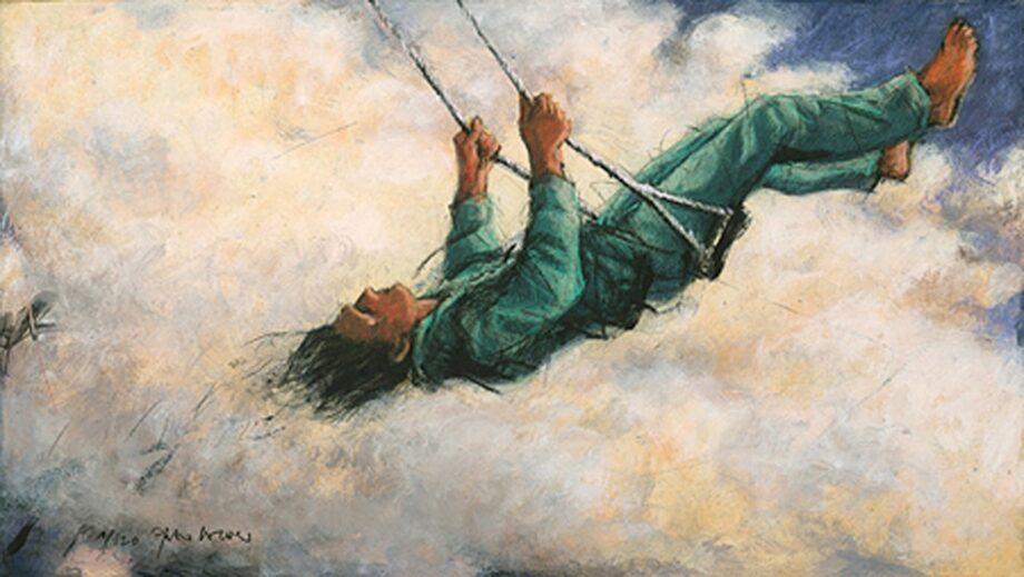Peter Wever | Schaukel in Wolken (grün)