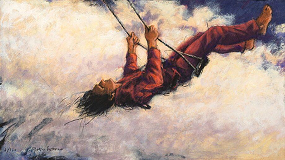 Peter Wever | Schaukel in Wolken (rot)