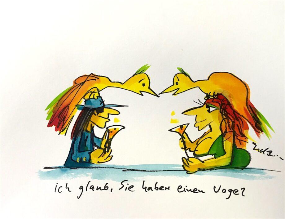 Udo Lindenberg | Ich glaub Sie haben einen Vogel, Originalaquarell