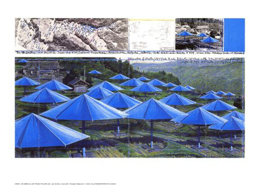 Christo | Umbrellas blue I, handsigniert