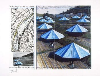 Christo | Umbrellas Blue II, handsigniert