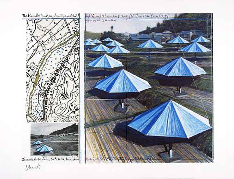 Christo | Umbrellas Blue II, handsigniert