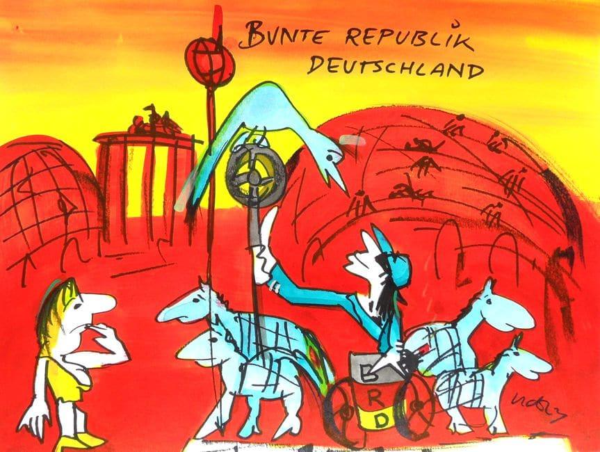Udo Lindenberg | Bunte Republik Deutschland, Originalaquarell, handsigniert