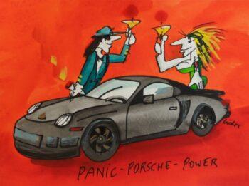 Udo Lindenberg | Panic Porsche Power, Originalaquarell, handsigniert