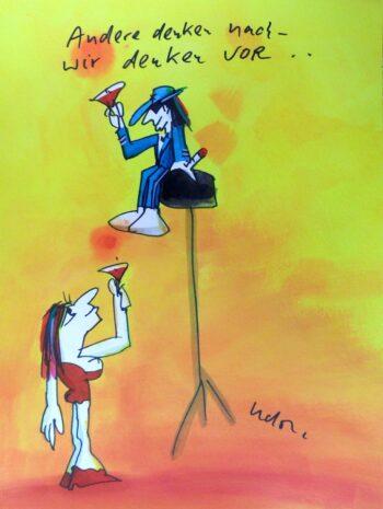 Udo Lindenberg | Andere Denken nach, wir denken vor. Originalaquarell, handsigniert