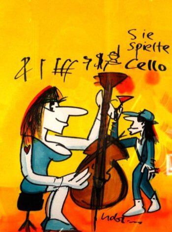 Udo Lindenberg | Cello. Originalaquarell