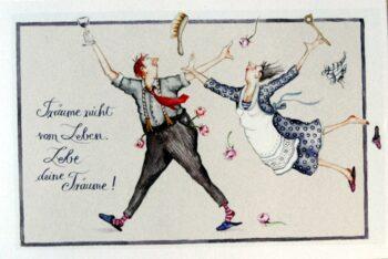 """Christina Thrän: Briefkarte """"Träume nicht vom Leben..."""""""
