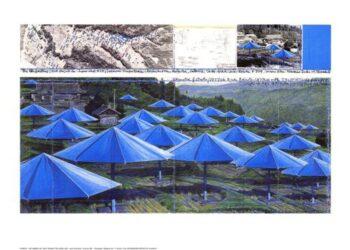 Christo | Umbrellas Blue I, gerahmt