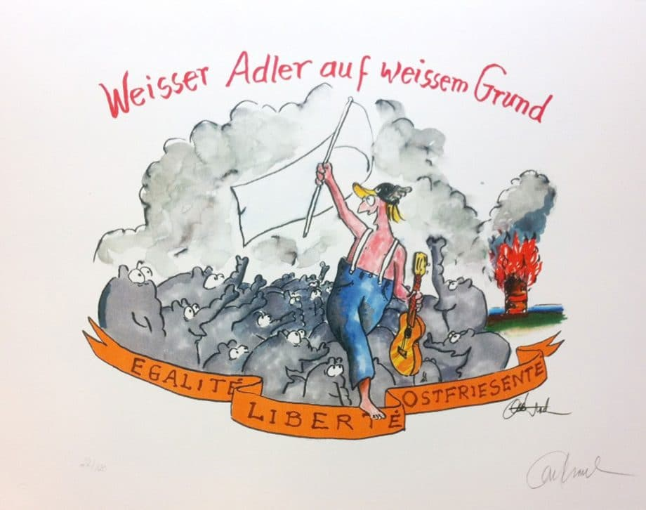 Otto Waalkes Weißer Adler auf weißem Grund, gerahmt