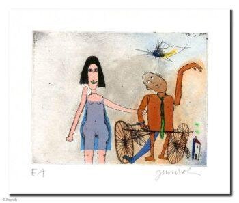 Janosch Ich und mein Mann Manni Mangold mit seinem Rad
