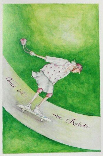 "Christina Thrän | Briefkarte ""Oma ist eine Rakete"""
