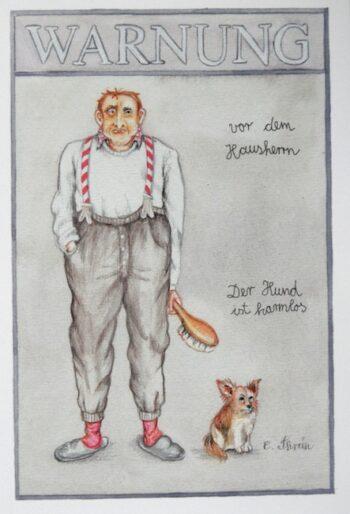 "Christina Thrän | Briefkarte ""Warnung vor dem Hausherrn"""