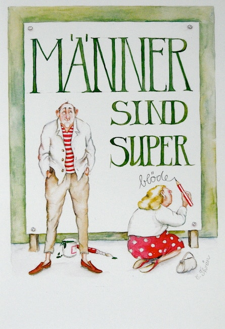 "Christina Thrän | Briefkarte ""Männer sind super"""
