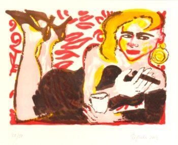 Elvira Bach | Liegende mit Zigarre (Raucherin)