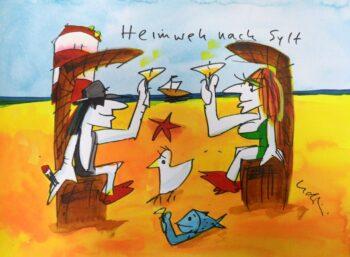 Udo Lindenberg | Heimweh nach Sylt, Originalaqurarell, handsigniert