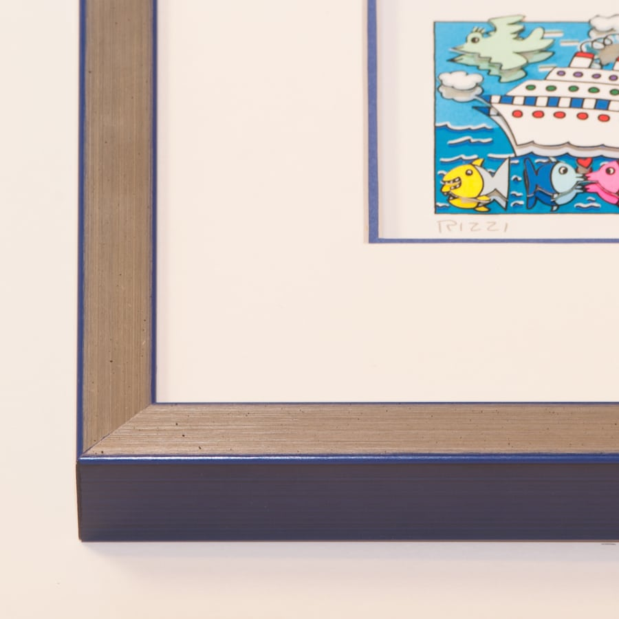 Holzrahmen silber/blau | 60 x 60 cm