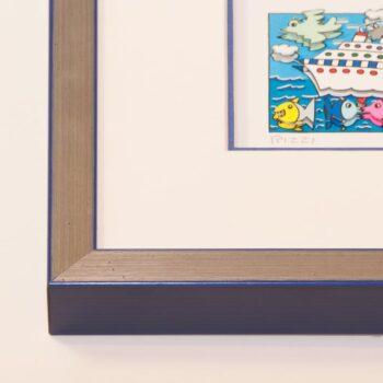 Holzrahmen silber/blau | 50 x 70 cm