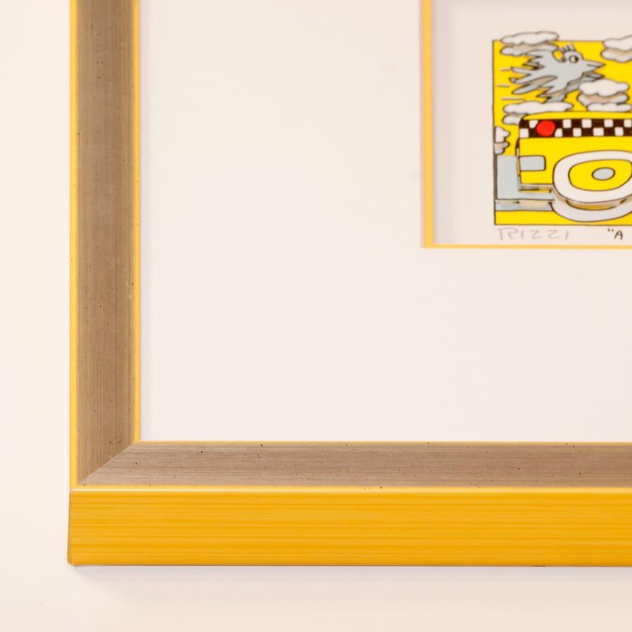 Holzrahmen silber/gelb   30 x 40 cm