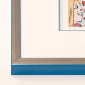 Holzrahmen silber/hellblau | 50 x 70 cm