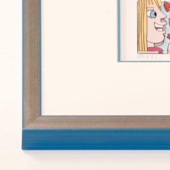 Holzrahmen silber/helblau | 40 x 90 cm