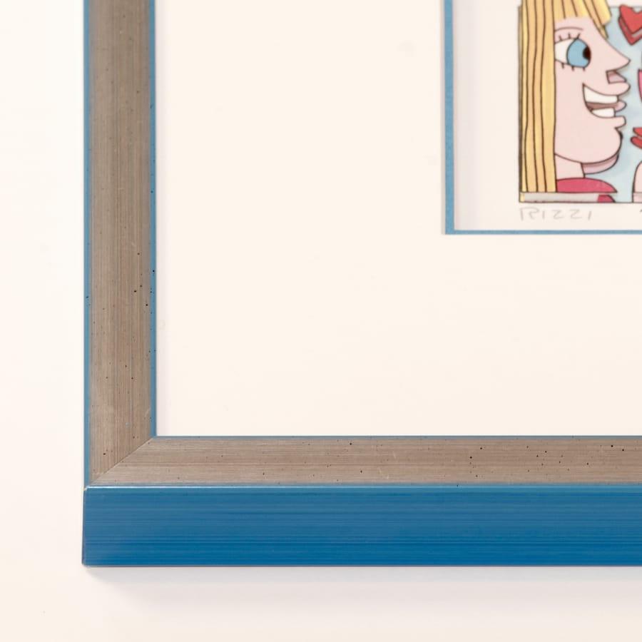 Holzrahmen silber/hellblau | 40 x 50 cm