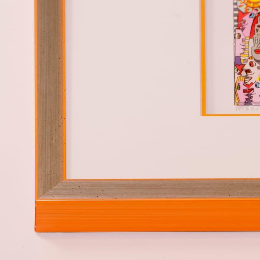 Holzrahmen silber/orange | 60 x 70 cm