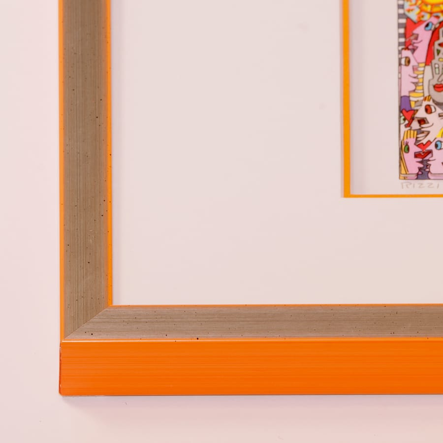 Holzrahmen silber/orange | 45 x 45 cm