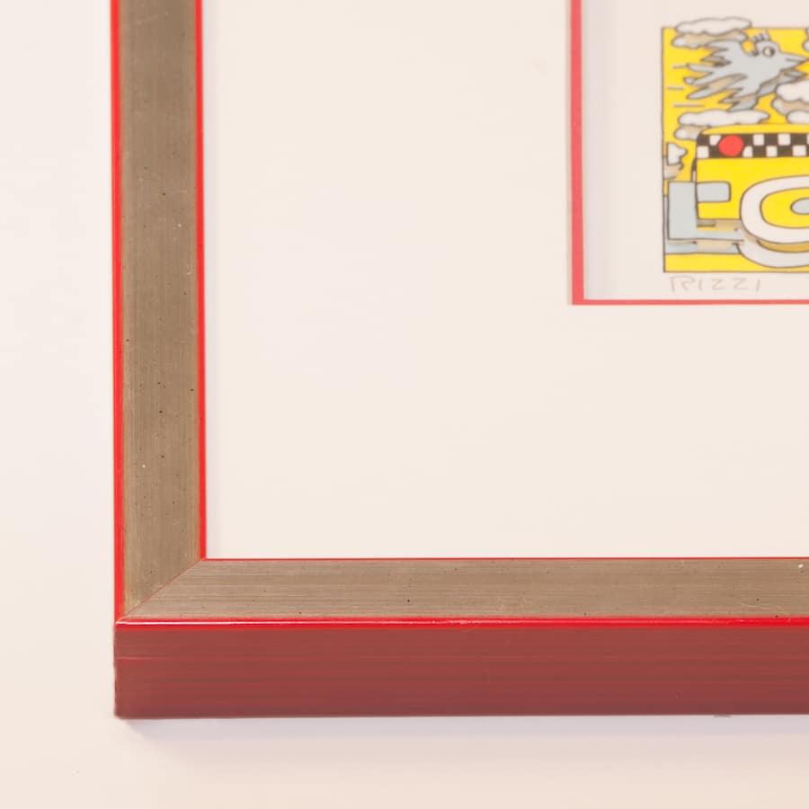 Holzrahmen silber/rot | 45 x 45 cm