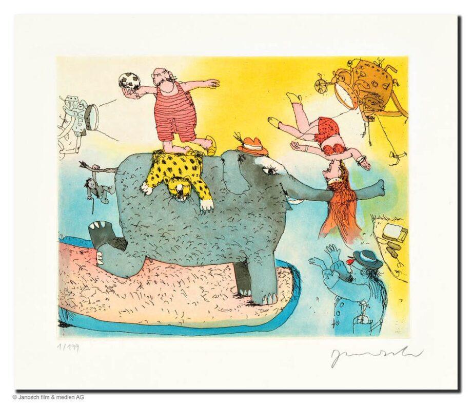 Janosch | Der Elefant steht hier im Licht