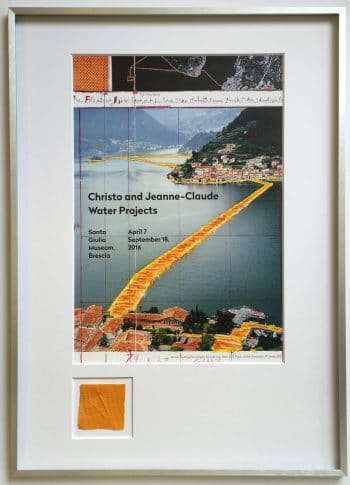 Christo Ausstellungsplakat mit Originalstoff
