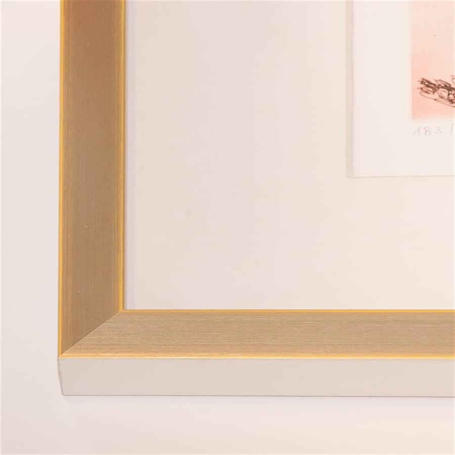 Silberner Holzrahmen mit gelber Kante | 40 x 40 cm