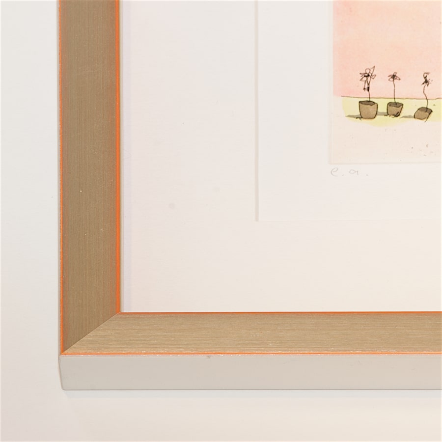 Silberner Holzrahmen mit orangefarbener Kante | 40 x 40 cm
