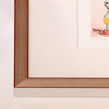 Silberner Holzrahmen mit roter Kante | 40 x 40 cm