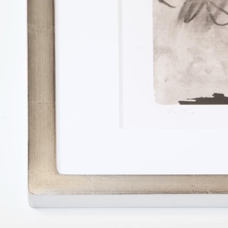 Holzrahmen mit echtem Weißgold (Holz 20 mm) | 62 x 46,5 cm