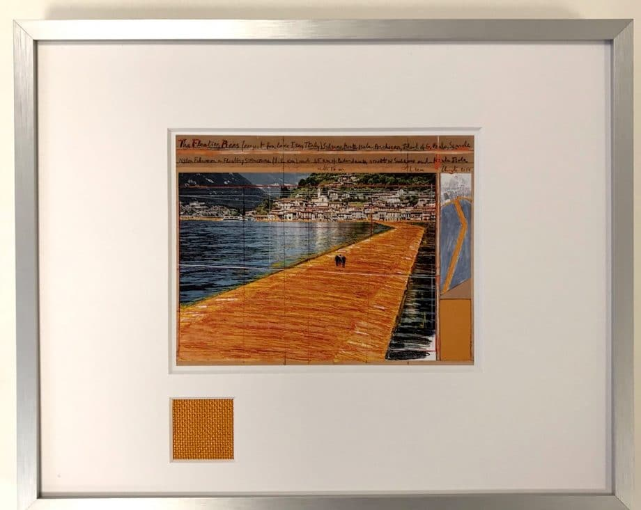 Christo The Floating Piers – gerahmter Miniprint 1 mit Originalstoff