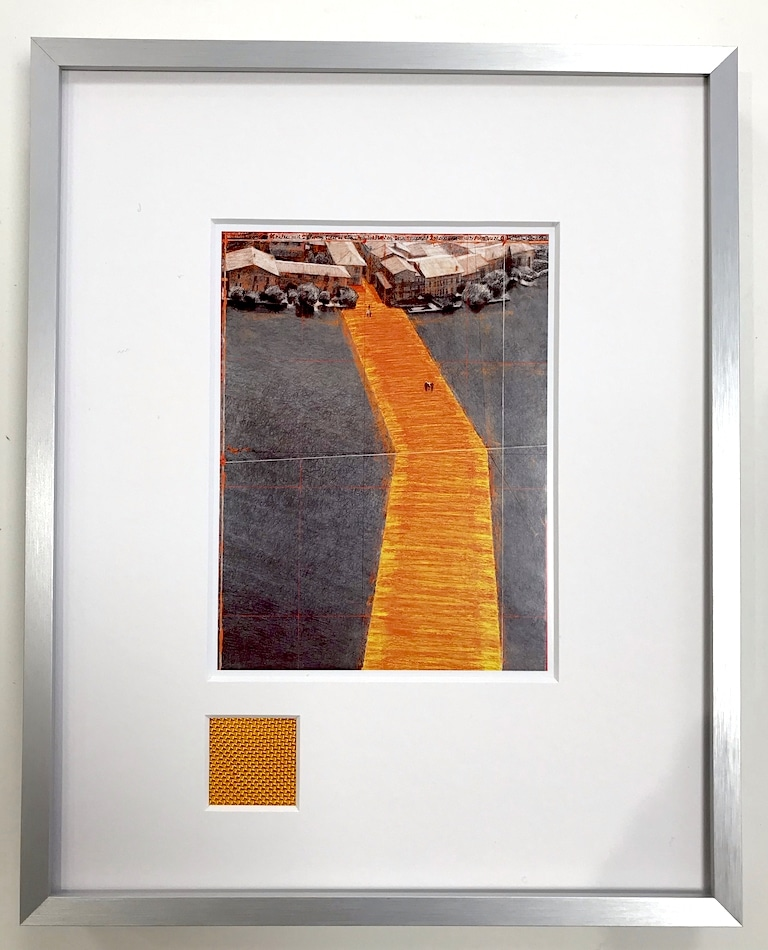 Christo   The Floating Piers - gerahmter Miniprint 3 mit Originalstoff
