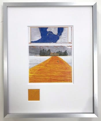 Christo | The Floating Piers - gerahmter Miniprint 4 mit Originalstoff