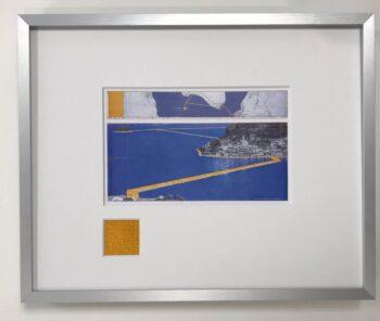 Christo | The Floating Piers - gerahmter Miniprint 2 mit Originalstoff
