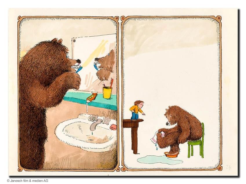 Janosch | Bärenvater bei der Morgentoilette (gerahmt)
