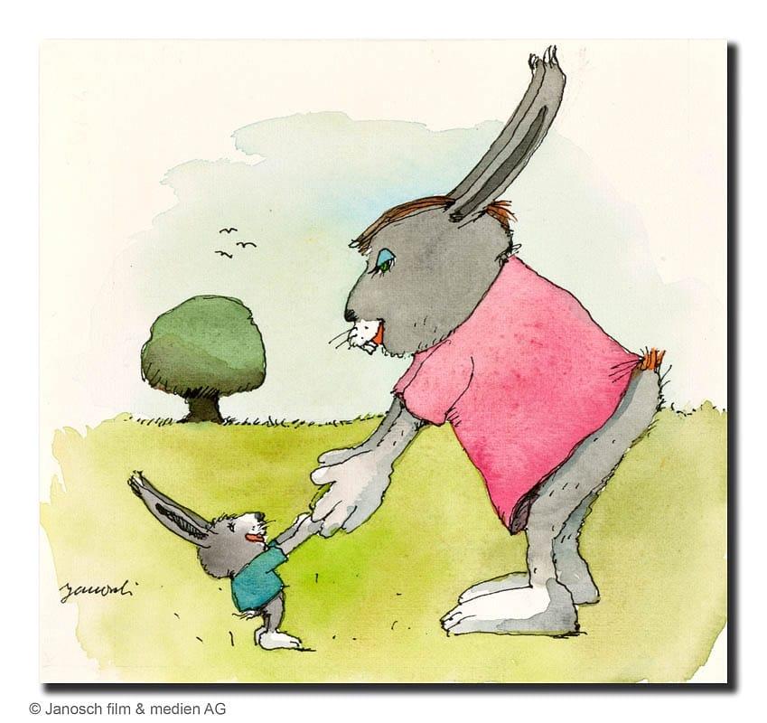 Janosch | Der große und der kleine Hase (gerahmt)
