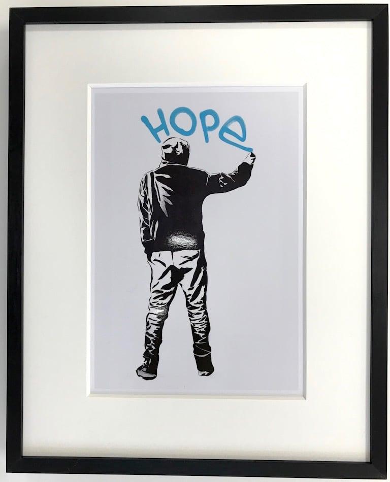 Streetart   Hope - gerahmter Miniprint