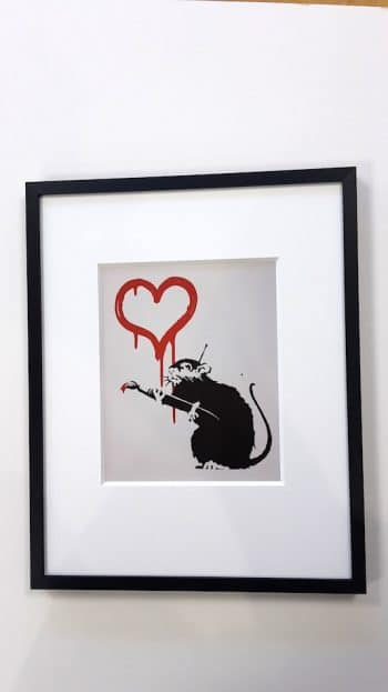 Banksy | Love Rat - gerahmter Miniprint