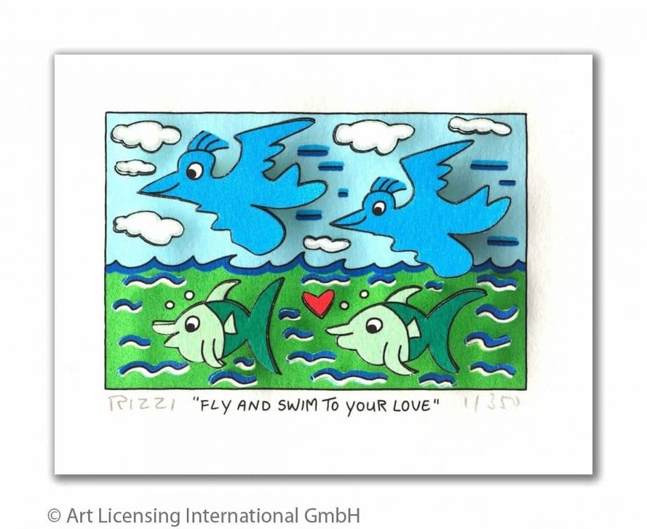 James Rizzi | Fly and swim to your love (gerahmt)